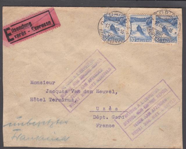 Lettre de Zurich de juillet 1940 pour la zone libre - Mal dirigée !! _9000414