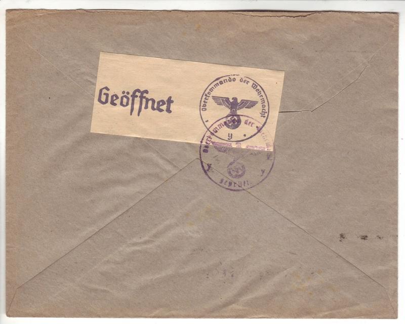Courrier intérieur contrôlé par la commission allemande de Bordeaux  B000211