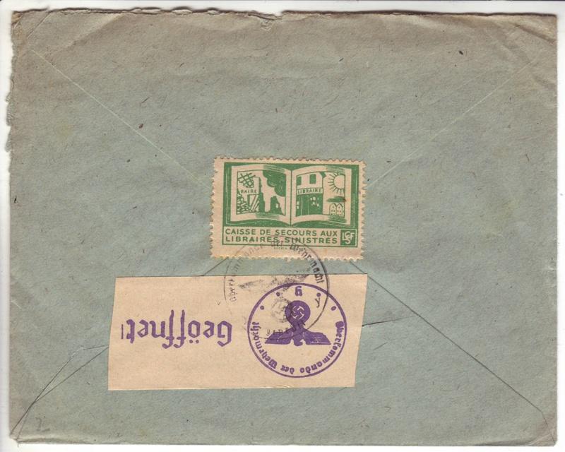 Courrier intérieur contrôlé par la commission allemande de Bordeaux  D000210