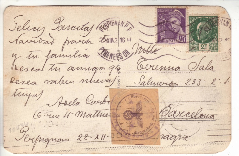 Contôle hors du commun des cartes postales par la BP bordeaux en décembre 1942 et janvier1943 E000110