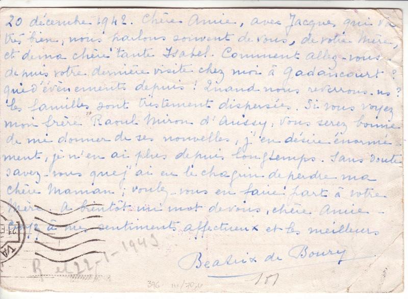 Contôle hors du commun des cartes postales par la BP bordeaux en décembre 1942 et janvier1943 H000110