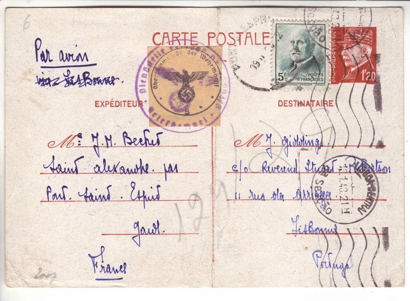 Contôle hors du commun des cartes postales par la BP bordeaux en décembre 1942 et janvier1943 I000110