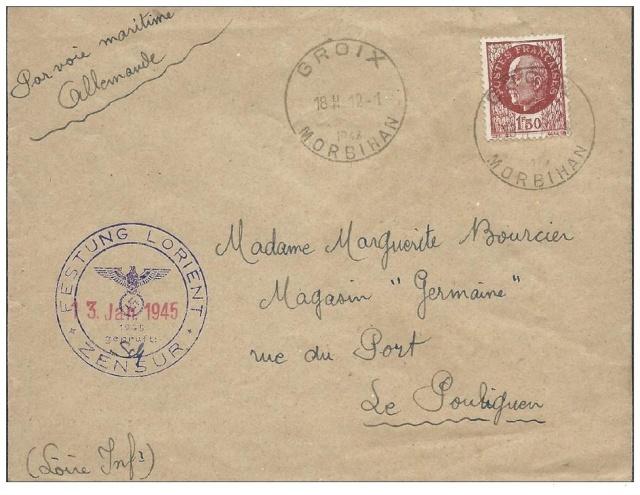 Lettre de Groix du 12.01.1945 avec censure de Lorient. Lorien10