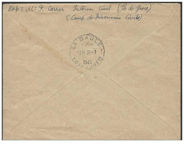 Lettre de Groix du 12.01.1945 avec censure de Lorient. Lorien11