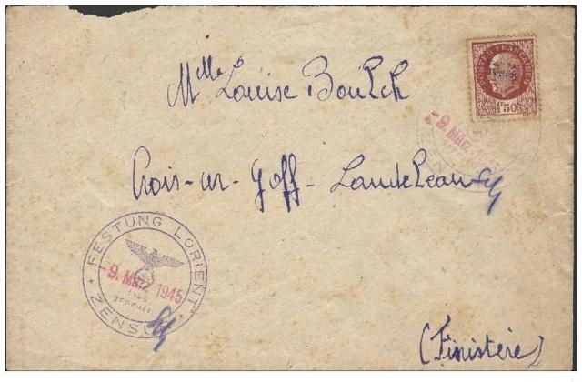 """Lettre avec censure """" Festung Lorient pour Landeleau. Lorien13"""
