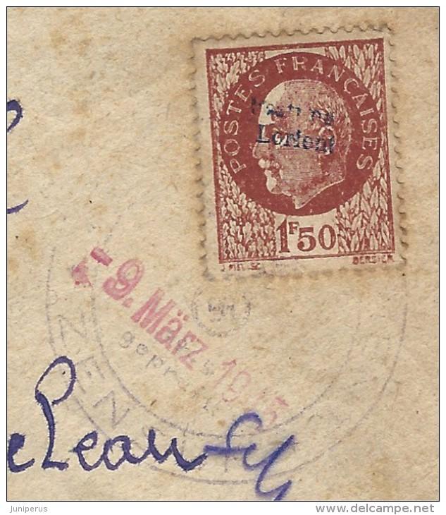 """Lettre avec censure """" Festung Lorient pour Landeleau. Lorien14"""