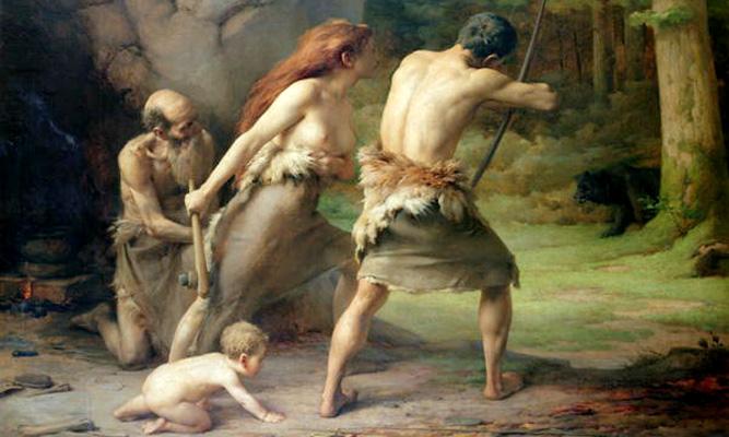 « Homme préhistorique chassant l'ours ». 6-xir110