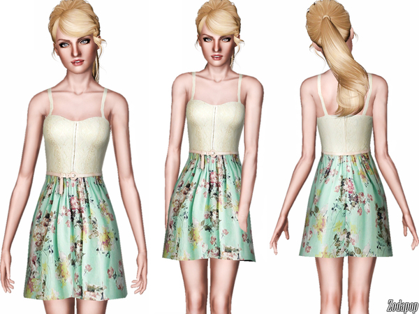 Crochet and Floral Twofer Dress by zodapop W-600h13