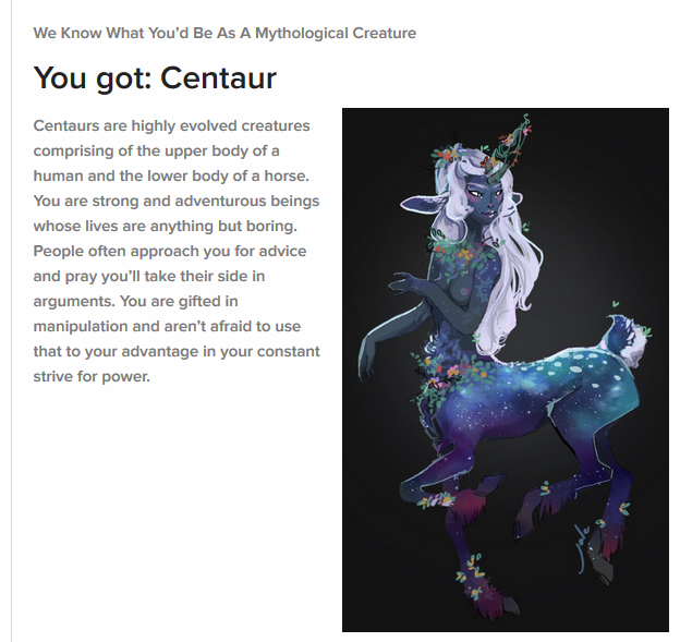 What Mythological Creature Are You? Class10