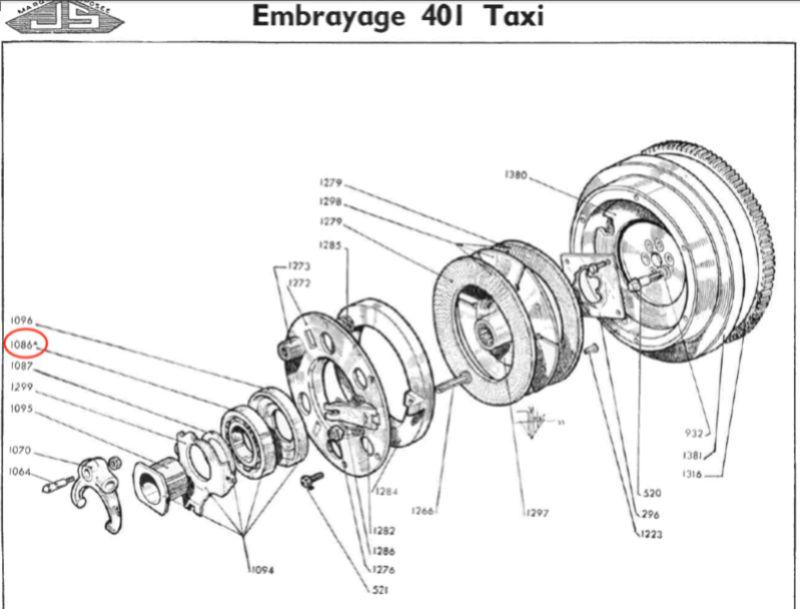 Axe de fourchette de butée d'embrayage 401 Taxi-Tracteur 401dlt10