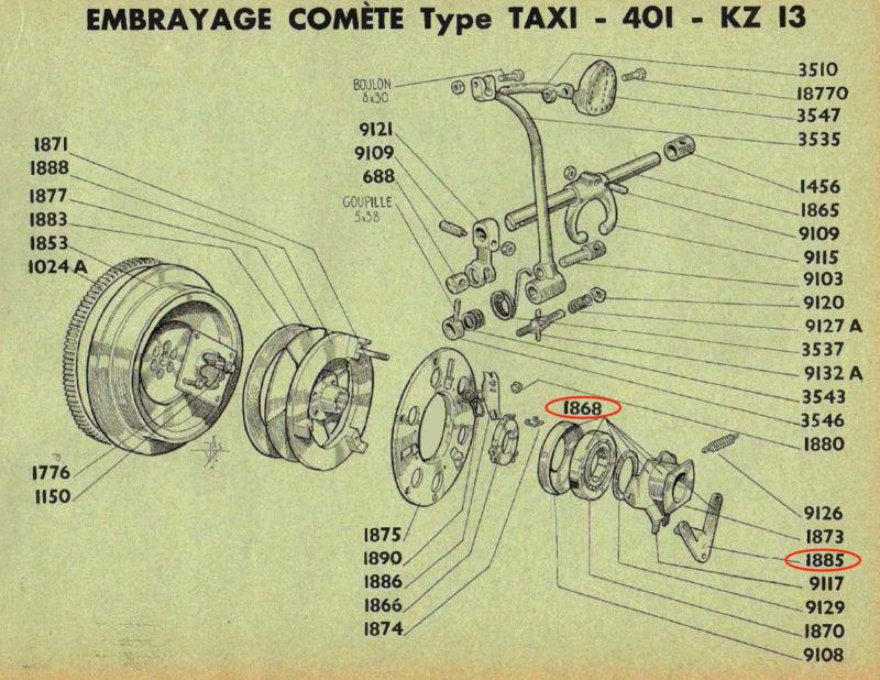 Axe de fourchette de butée d'embrayage 401 Taxi-Tracteur 401dlt12