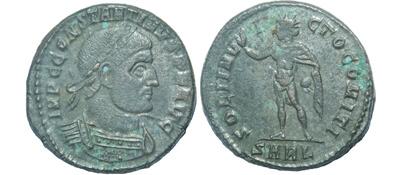 Un follis inédit de Constantin Ier, revers avec Victoire et empereur Cen-5310