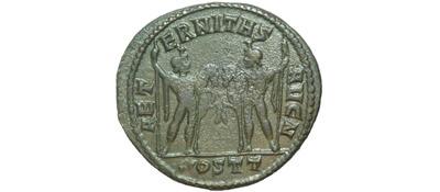 Un follis inédit de Constantin Ier, revers avec Victoire et empereur Dioscu12