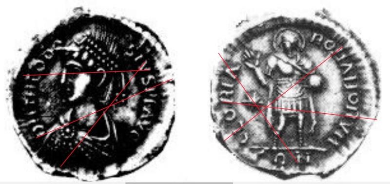 Comparaison de coins du Miliarense de Théodose II   Fausse10
