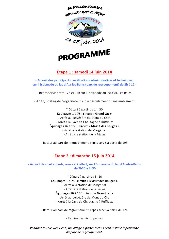14/15 juin 2014 - 3e Rassemblement RS et Alpine à Aix-les-Bains Progra10