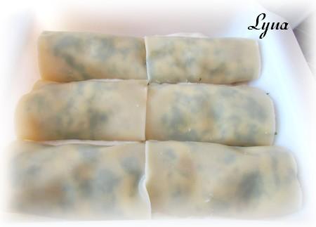 Rouleaux de lasagne aux crevettes et épinard Roulea15