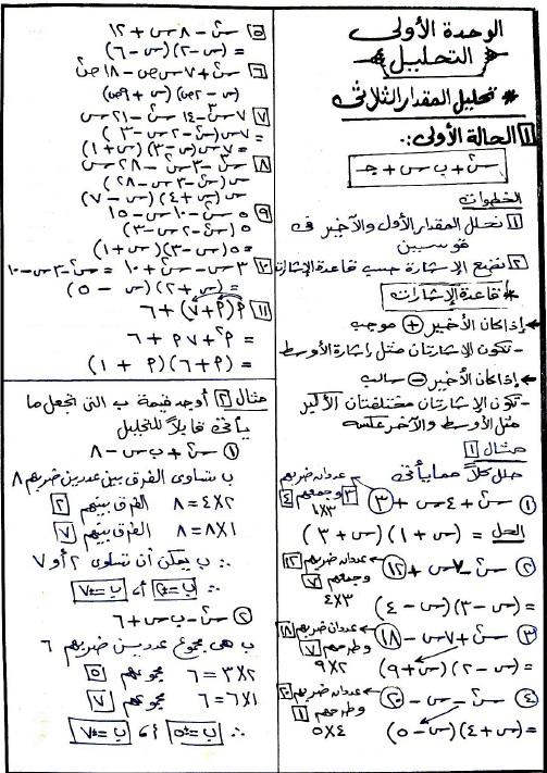 أقوى شرح لمادة الجبر والهندسة للصف الثانى الاعدادى الفصل الدراسى الثانى على مذكرة 75 ورقة 222210