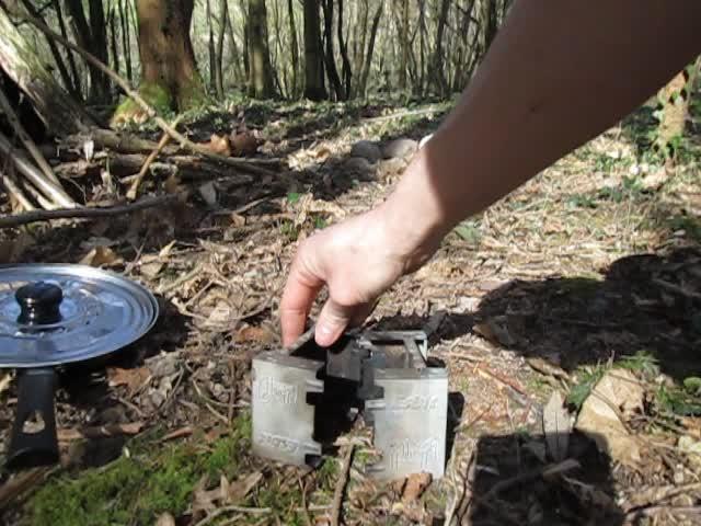 Test d'un réchaud à bois expérimental et video sortie Vlcsna24