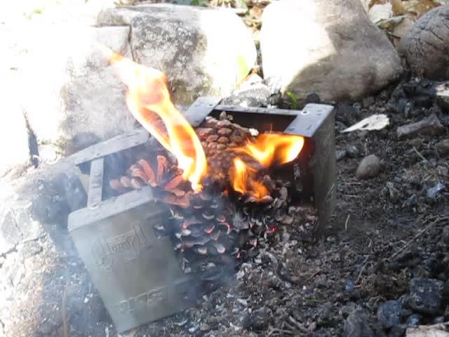 Test d'un réchaud à bois expérimental et video sortie Vlcsna26