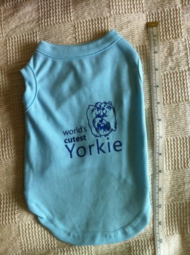 55.  Blue 'Worlds Cutest Yorkie'  Dog T-Shirt - small Img_2516
