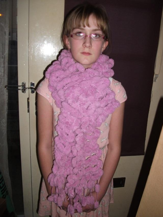 121.  Rose Pink Pom Pom Scarf - made by Chloe Scarve11
