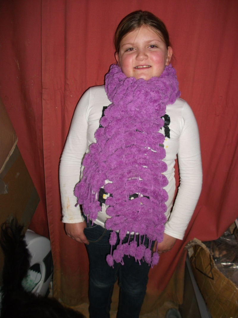 31.  Handknitted Pom Pom Scarf by Chloe - Bright Mauve Snowball Yarn Zz10