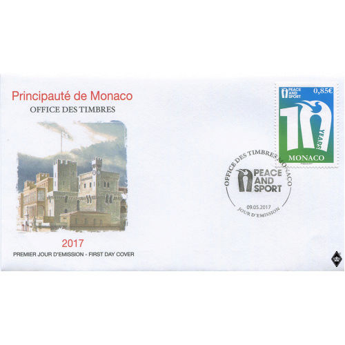 Timbre (Monaco) - 10 ans de l'ONG Peace & Sport Fdcpea10