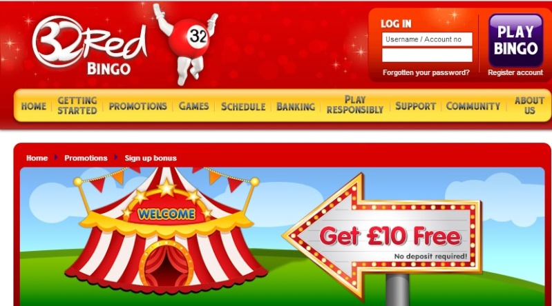 Get £10 No-Deposit Bonus At 32Red Bingo 32red_11