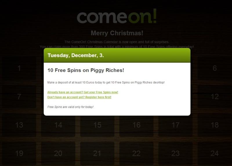 ComeOn Casino Christmas Calendar - Tuesday 3rd December 2013 Comeon13