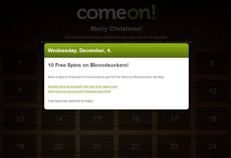 ComeOn Casino Christmas Calendar - 4th December 2013 Comeon14