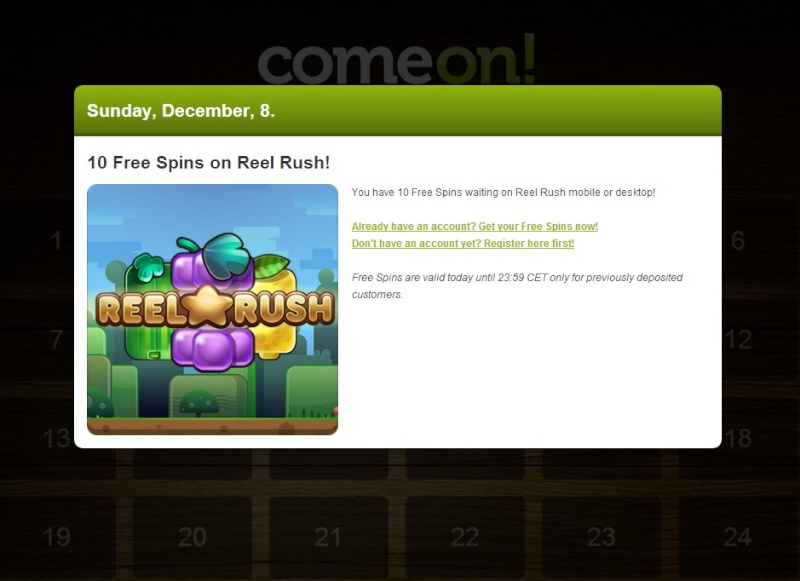 ComeOn Casino Christmas Calendar - 8th December 2013 Comeon18