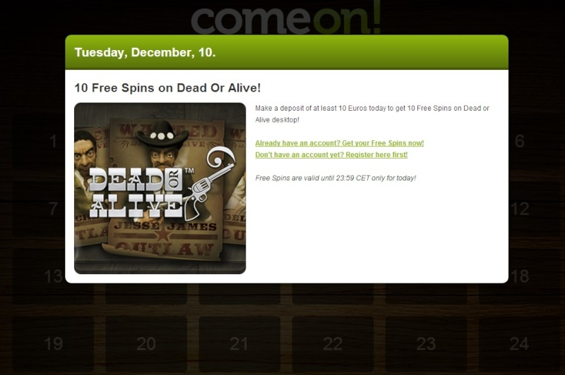 ComeOn Casino Christmas Calendar - 10th December 2013 Comeon20