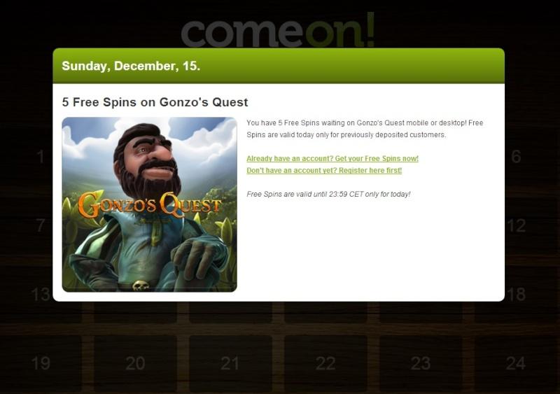 ComeOn Casino Christmas Calendar - 15th December 2013 Comeon25