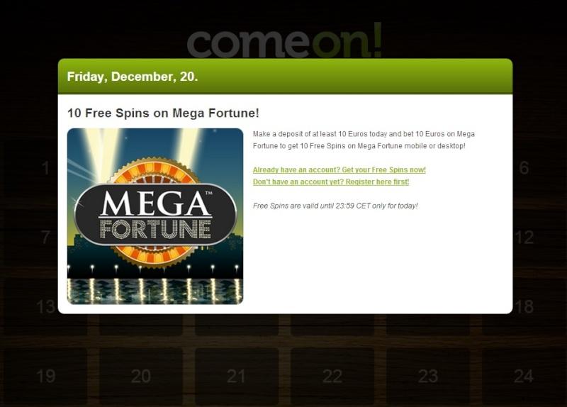 ComeOn Casino Christmas Calendar - 20th December 2013 Comeon30