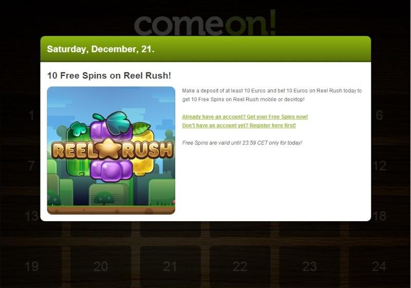 ComeOn Casino Christmas Calendar - 21st December 2013 Comeon31