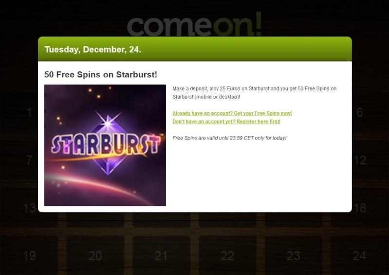 ComeOn Casino Christmas Calendar - 24th December 2013 Comeon34
