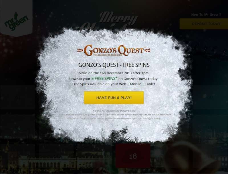 MrGreen Casino Christmas Calendar - 16th December 2013 Mrgree24