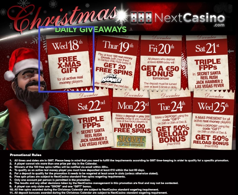 NextCasino Casino Christmas Calendar - 18th-25th December 2013 Nextca13
