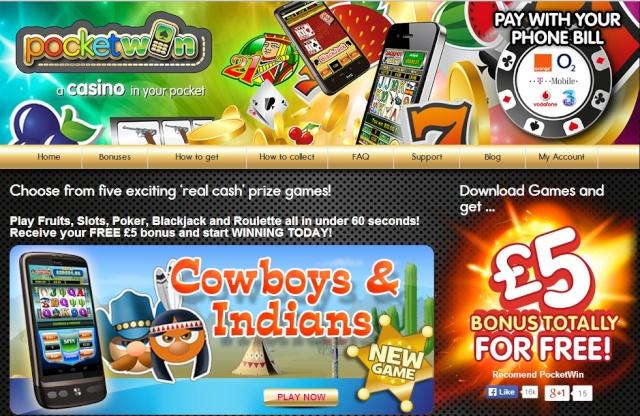 PocketWin Mobile Casino £5 No Deposit Bonus (EXPIRED) Pocket10