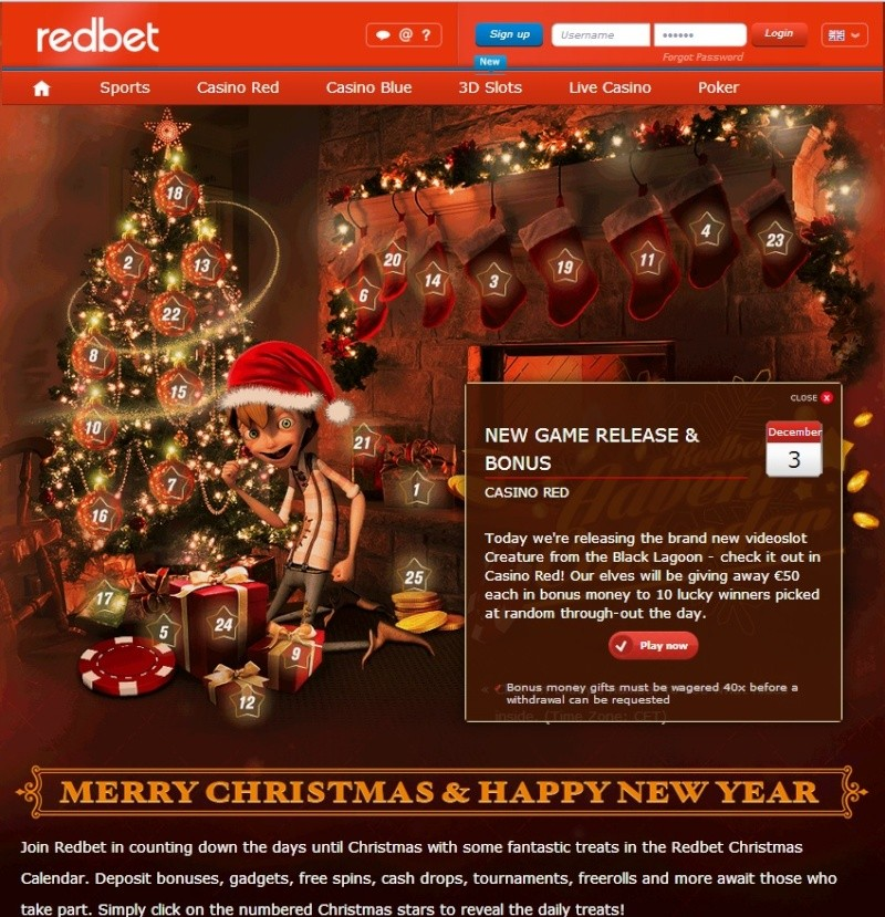 Redbet Casino Christmas Calendar - Tuesday 3rd December 2013 Redbet14