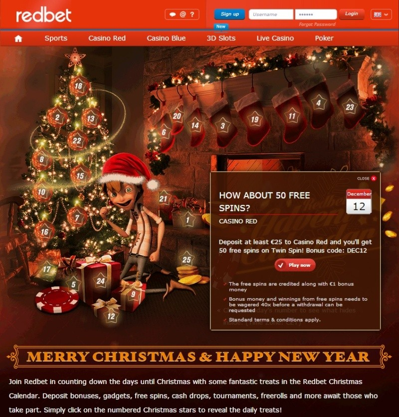 Redbet Casino Christmas Calendar - 12th December 2013 Redbet23