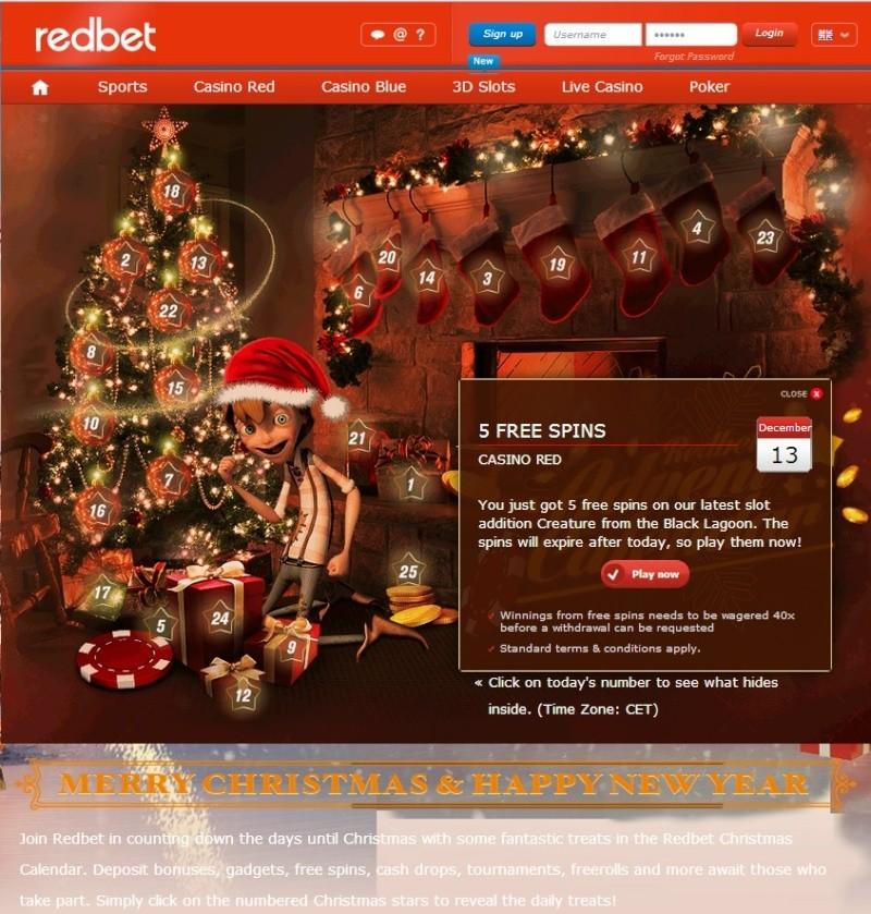 Redbet Casino Christmas Calendar - 13th December 2013 Redbet24