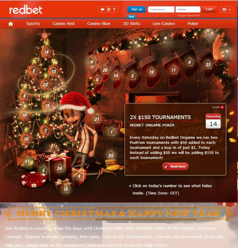 Redbet Casino Christmas Calendar - 14th December 2013 Redbet25