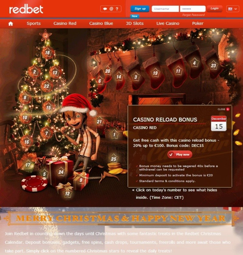 Redbet Casino Christmas Calendar - 15th December 2013 Redbet26