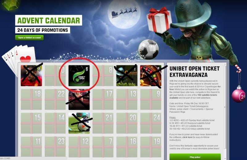 Unibet Casino Christmas Calendar - 6th December 2013 Unibet15