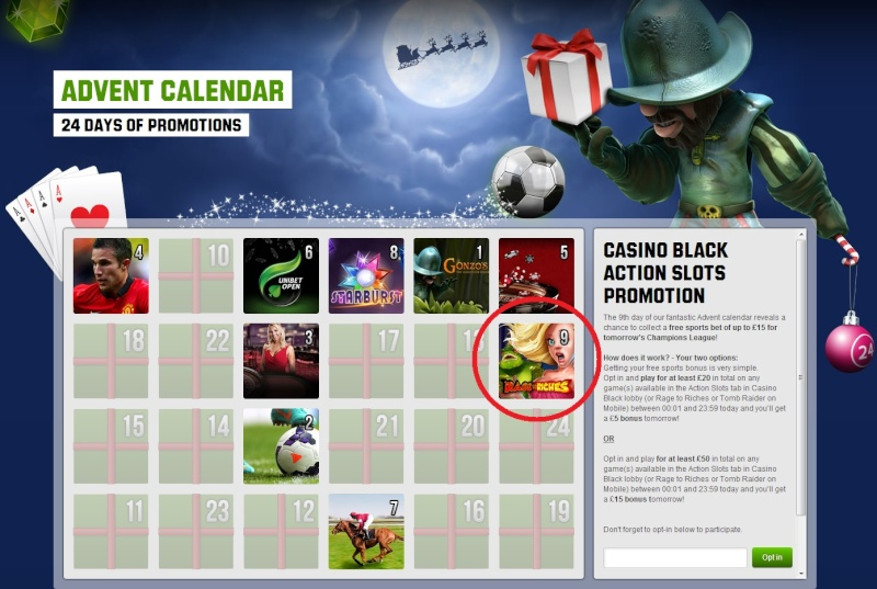Unbet Casino Christmas Calendar - 9th December 2013 Unibet18