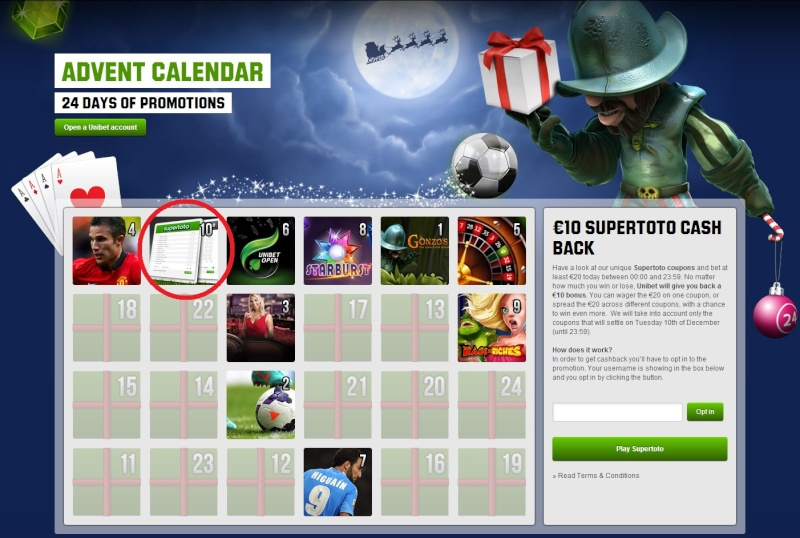 Unibet Casino Christmas Calendar - 10th December 2013 Unibet19
