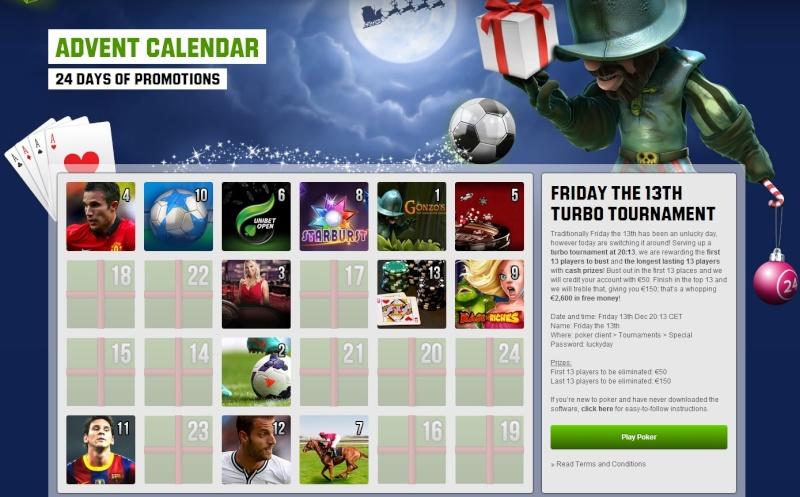 Unibet Casino Christmas Calendar - 13th December 2013 Unibet22