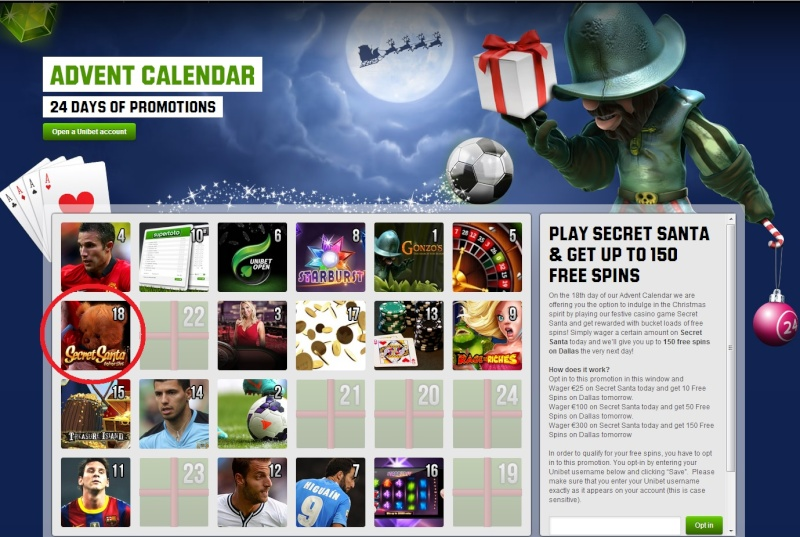 Unibet Casino Christmas Calendar - 18th December 2013 Unibet27