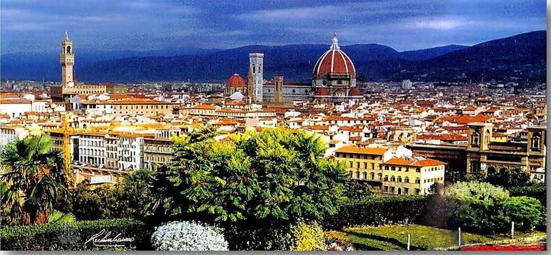 L'esplanade Michel-Ange (Piazzale Michelangelo) à Florence en Italie.  82717410